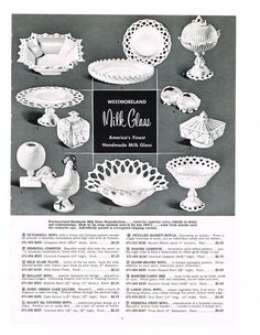 Milk Glass pictures and Information Westmoreland Glass, Vintage Glassware, Vintage Plates, Antique Bottles, Vintage Dishes, Vintage Pyrex, Vintage Kitchen, Fenton Glass, My Glass