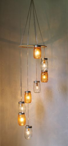 Tangerine Dream Waterfall Mason Jar Chandelier - Hanging Spiral Lighting Fixture - Upcycled Mason Jar Pendant Lamp