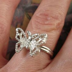 vintage Sarah Coventry silver butterfly ring