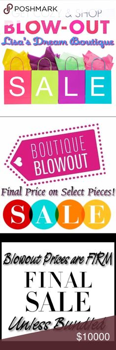 ✂️HUGE BOUTIQUE SALE✂️FINAL PRICE ON SELECT ITEMS! I'm having a huge🎉BOUTIQUE SALE🎉on SELECT ITEMS ONLY!! It's time to move through some Inventory and NOW is the time!!🎊ANY LISTINGS WITH✂️in front✂️is at its FINAL PRICE!! Save $$$ by bundling, purchase 3+ items and receive {25% OFF} at checkout automatically🛒THESE ARE MY FINAL AND BEST PRICES!! NO OFFERS ON ANY SINGLE✂️MARKDOWN ITEMS✂️NO OFFERS ON ANY BUNDLES WITH✂️MARKDOWN ITEMS✂️Thank you in advance and enjoy receiving🎊GREAT DEALS🎊on…