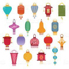 Japanese Paper Lanterns, Chinese Lanterns, Lantern Image, Chinese Lantern Festival, Egg Carton Crafts, Chinese Design, Watercolor Images, Chinese Symbols, Ceramics Projects