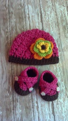 Baby Girl Crochet Hat and Booties Set  Hot by MimisBabiesProps, $39.50