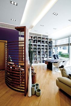 Home office and library with wall #bookshelves