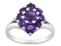 1.48ctw Round African Amethyst Sterling Silver Ring