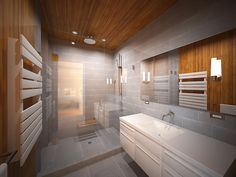 Modern Gray Bathroom with Custom Design - The gray color reflects a contemporary and trendy as well as a very elegant look