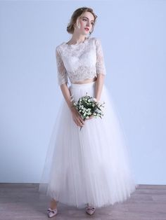 Exclusive A-line Scoop Neck Tulle Ankle-length Appliques Lace 1/2 Sleeve Two Piece Wedding Dresses #DGD00022679