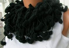 Smoky Black Scarf Cocoon,Ponpon, Cowl, Neckwarmer Garland
