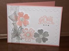 Stampin Up Handcrafted Elegant  Get Well  Card Kit- Set of 4