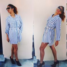 Summer Outfit Short blouse with grey & white vertical stripes  Black high heels