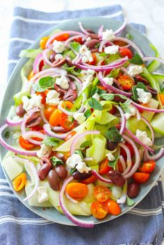 Shaved Cucumber and Tomato Greek Salad