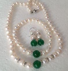 Natural White Akoya Pearl/Green Jade Gemstones Necklace Bracelet Earrings Set