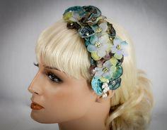 Vintage Inspired Floral,Pearl & Crystal Fascinator In Teal-$79.00 #vintageweddings #bridalfascinator #teal #bridalheadband #bridalheadpiece #weddings #tealweddings #flowerhairclip