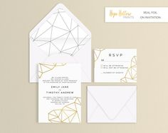 Geometric Foil Wedding Suite  Set of 25 or by HopeHollowPrints
