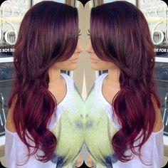 Red violet ombré hair.