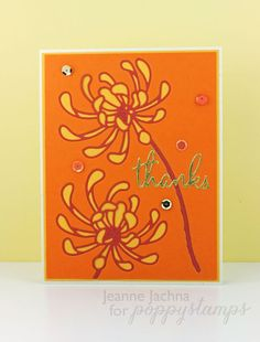 Created by Jeanne Jachna http://akeptlife.blogspot.com for poppystamps.com  Featuring Delicate Mum and Thanks Word Balloon Dies , #poppystamps, #die, #handmadecard