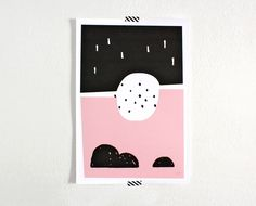 Landscape, Digital Art, Abstract Print, Black and Pink. $18.00, via Etsy.