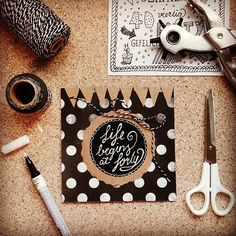 Life begins at forty!! #birthday #card #diy #blackwhite #lettering #typography #handmade #paperfuel