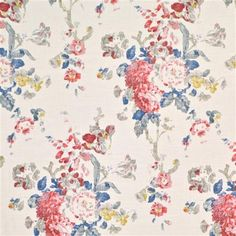 Jardin Floral - Ralph Lauren - Summer Canvas Designer Collections Fabric Origin: UK, Fiber Content: 55% Linen, 45% Rayon, End Use:Drapery, Bedding, Pillows, Light Use Furniture