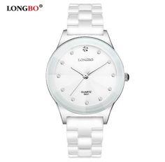 LONGBO Luxury Brand Rhinestone Business Casual Men Fashion Clock Leisure Water Resistant Women Dress White Ceramic Quartz Watch //Price: $21.6 & FREE Shipping //