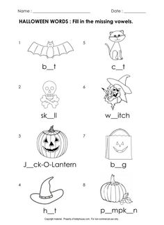 Free Halloween Worksheets : Fill in the missing vowels | kiddyhouse.com/Themes/halloween/printables/hallphon2.html