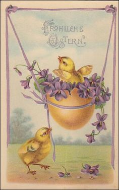 Easter Vintage  Postcard, Easter Chick in Yellow Egg swing, violets