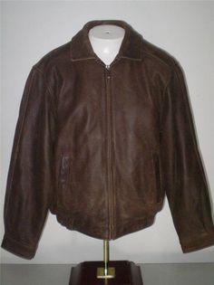 Mens Croft And Barrow Leather Bomber Flight Jacket Brown M #CroftandBarrow #FlightBomber