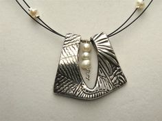 Jackie & Carol of Silvermaven - Pearl Elegance - PMC and Pearls Pendant - Fine Silver Necklace. $95.00, via Etsy.