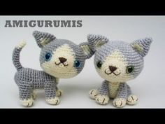 Amigurumi kittens - pattern on Etsy. Crochet Dog Patterns, Basic Crochet Stitches, Crochet Basics, Amigurumi Patterns, Cute Crochet, Crochet Toys, Black And White Kittens, Grey Kitten, Small Dog Clothes