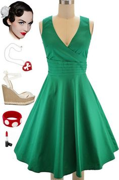 """Brand new dress in store at Le Bomb Shop! (""""Regular"""" sizes only) Find it here: http://www.ebay.com/itm/50s-Style-EMERALD-Green-Surplice-Front-Cummerbund-Waist-BEGUILING-BEAUTY-Dress-/121136768020?pt=US_CSA_WC_Dresses==item61d30c8f58"""