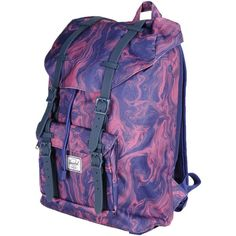 The Herschel Supply Co. Brand Rucksacks & Bumbags ($84) ❤ liked on Polyvore featuring bags, purple, purple backpack, pattern backpack, logo bags, snap bag i colorful backpacks