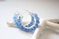 All Washed Up Blue Agate Stone Earrings Wire Wrapped Sterling
