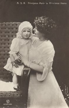 Queen Marie of Romania and Princess Ileana Romanian Royal Family, Greek Royal Family, Victorian Life, Old Photography, Royal Babies, Queen Mary, Ferdinand, Queen Victoria, Vintage Girls