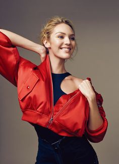 Candice Swanepoel Goes Sporty Glam for ELLE China Editorial (May 2016). All smiles, Candice Swanepoel models cropped red bomber jacket