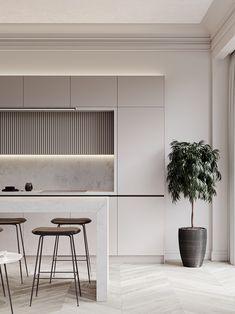 Modern Kitchen Interiors, Luxury Kitchen Design, Kitchen Room Design, Home Decor Kitchen, Kitchen Living, Interior Design Kitchen, Kitchen Furniture, Home Kitchens, Living Room