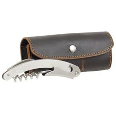 """3-in-1 Bottle Opener with Stitching Case by WOLF DESIGNS. $25.00. 3-in-1 Bottle Opener with Stitching Case. Our stainless steel 3-in-1 tool features a corkscrew, knife and bottle opener. All these items are conveniently housed in our smooth chocolate brown leather case and plaid flannel lined interior. Now you can bring the openers with you! Dimensions: 5"""" L x 2"""" W x 1"""" H Weight: 1 lbs."""