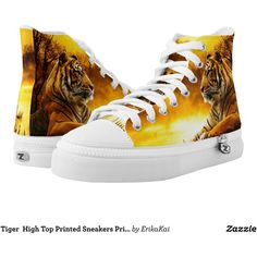 Tiger High Top Printed Sneakers Printed Shoes (125 CAD) ❤ liked on Polyvore featuring shoes, sneakers, tiger, hi tops, high top sneakers, high top trainers and high top shoes