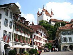 thun castle over rathausplatz, bern, switzerland