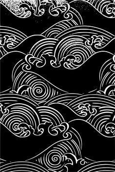 Design Art, Graphic Design, Japon Illustration, Wave Art, Japan Design, Japanese Patterns, Japan Art, Pattern Art, Blackwork