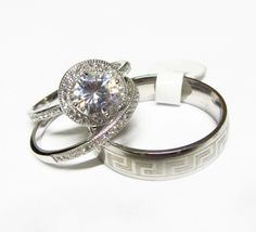 ♥♡ HIS & HERS ♡♥ 3-Pc Wedding set 925 STERLING & L316 STEEL $150.00! GIN= 10K bridal earrings!