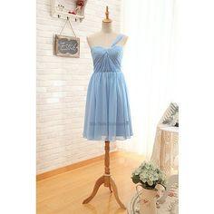 Knee Length One Shoulder Blue Bridesmaid Dress