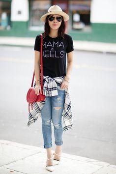 Mama In Heels Tee, OhBabyChic Collaboration, Anine Bing Panama Hat, Current/Elliott The Stiletto Jeans, Elizabeth and James 'Carine' Shirt, Chloe 'Small Marcie' Leather Crossbody Bag, Casual style