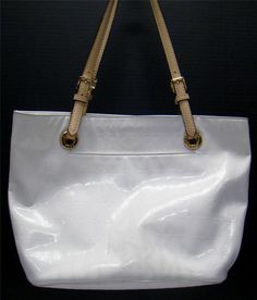 MICHAEL KORS WOMENS WHITE SIGNATURE MK EMBOSSED PATENT LEATHER SHOULDER  HANDBAG  MichaelKors  ShoulderBag 84c2b6fcbfd7f
