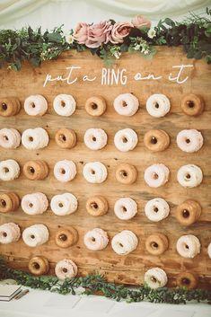 home made doughnut wall with gluten free doughnuts Wedding Wall, Fall Wedding, Rustic Wedding, Our Wedding, Dream Wedding, Backyard Engagement Parties, Engagement Party Decorations, Balloon Decorations Party, Donut Bar