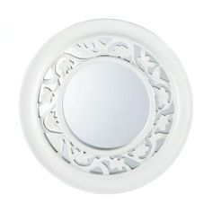 Make your space appear larger and more stylish with this striking wall mirror. The white round wooden frame features a cutout leaf pattern.  White Ivy Wall Mirror by Custom Made. #myCustomMade