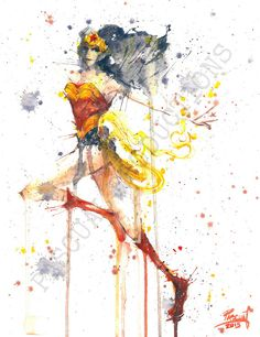 Wonder Woman Superhero DC Comics Watercolor by PascualProductions