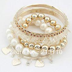 Ordem mínima é de usd 10( pode misturar a ordem) atacado bracelete de pedra colorida pulseira pérola conjuntos, baixo p...