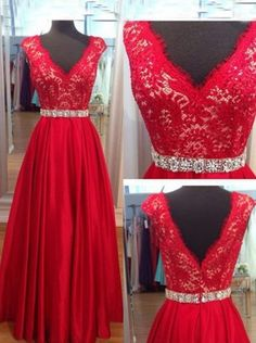 A-line V-neck Cap Sleeve Backless Zipper-up Long Lace Prom Dresses SAPD-40052