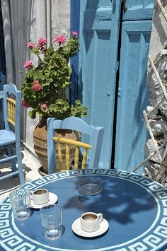 Enjoying a traditional greek coffee in Amorgos ♥ Greece Art & Architecture Creta, Greece Travel, Greek Islands, Belle Photo, Coffee Shop, Outdoor Furniture Sets, Beautiful Places, Pergola, Table Decorations
