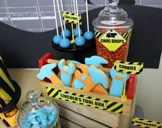 The Construction Site Theme Party via baby shower ideas and shops. So many fun ideas for a perfect for Construction Baby Shower Party!