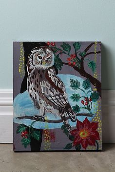 Hibou Contemp By Nathalie Lete #anthropologie I love this painting.. but I don't have that kind of money